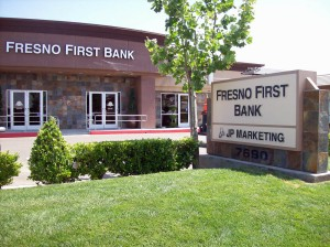 Financial Services Fresno First Bank Dimensional Letter and monument