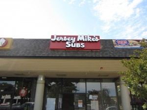 Restaurant Jersey Mike's Channel Letter on Backer